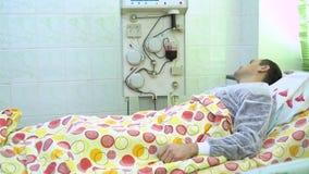 Plasmapheresis Limpieza de la sangre del paciente a trav?s del dispositivo El proceso de quitar plasma de sangre de almacen de metraje de vídeo