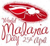 Plasmodium Parasite and Mosquito Silhouette Commemorating World Malaria Day, Vector Illustration Stock Images