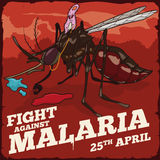 Plasmodium Riding a Mosquito in Battle for Fight Against Malaria, Vector Illustration Stock Photography
