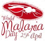 Plasmodiumparasit- och myggakontur som firar minnet av världsmalariadagen, vektorillustration Arkivbilder