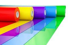 Plast- band Rolls för flerfärgad PVC-polyeten eller folie renderin 3D Arkivbild