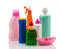 Plast- behållare för lokalvårdprodukt för husrengöring Fotografering för Bildbyråer