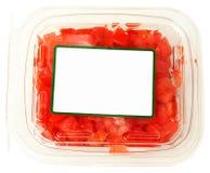 Plast- behållare för tom etikett av tärnade tomater Royaltyfria Bilder