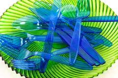 Plast- cultlery Fotografering för Bildbyråer