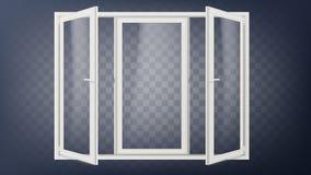 Plast- dörrvektor Plast- dörrram Öppnad lagerdörr tegelstenar som bygger gammal red för facade slappt trevligt sparande för energ stock illustrationer