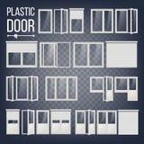 Plast- dörrvektor Plast- dörrram slappt trevligt sparande för energiillustration Olika typer Inre yttre beståndsdel Isolerat på vektor illustrationer