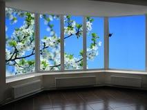 Plast- fönster som förbiser trädgården Royaltyfria Bilder