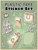 Plast- fri klistermärkeuppsättning r G?r den gr?na uppeh?llet royaltyfri illustrationer