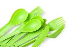 Plast- gaffel, sked och kniv Royaltyfri Foto