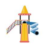 Plast- glidbana för ungelekplatsvektor i plan design Barn pl royaltyfri illustrationer