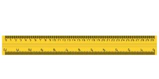 Plast- gul linjal med cm och tum vektor illustrationer