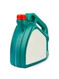 Plast- kanister för motorisk olja Arkivfoto