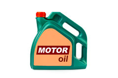 Plast- kanister för motorisk olja Royaltyfria Bilder