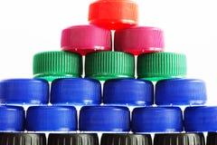 Plast- kapsyler Fotografering för Bildbyråer