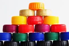 Plast- kapsyler Arkivfoton