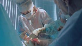Plast- kirurg som bär steriliserad utförande reimplantation för kläder stock video