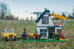 Plast- konstruktionsleksaker för färgrik lego Arkivfoton