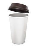 Plast- kopp kaffe med ett öppet lock på en vit bakgrund 3d Royaltyfri Fotografi