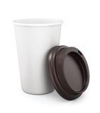 Plast- kopp kaffe med ett öppet lock på en vit bakgrund 3d Royaltyfri Bild