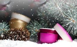 Plast- kosmetisk behållare med kräm i snön Arkivbild