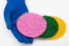 plast- kulor Polymeric färg Colorant för plast- i partiklarna Arkivbilder