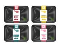 Plast- magasinbehållare med cellofanräkningen Modellmall för din design Plast- matbehållare med etiketten vektor illustrationer
