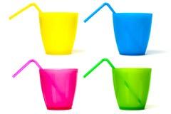 Plast- picknickexponeringsglas arkivbild