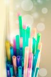 Plast- rör eller Straw Background Royaltyfria Bilder