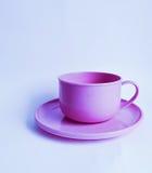 Plast- rosa tekopp och tefat Arkivbild