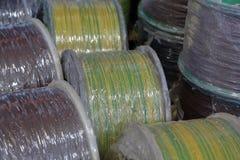Plast- rullar med kabel royaltyfri bild