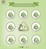 plast- som återanvänder symboler Royaltyfri Illustrationer