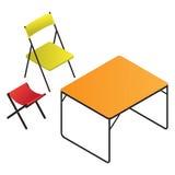 Plast- tabell och stol Fotografering för Bildbyråer