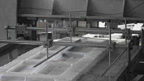 Plast- tillverkning för lunchaskar, den disponibla matpacken ware produktionslinjen arkivfilmer
