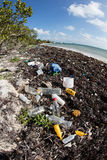 Plast- tvättade sig på den karibiska stranden Royaltyfri Bild