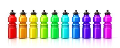 Plast- vattenflaskor för färgrik sport stock illustrationer