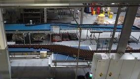 Plast- vattenflaskor på att buteljera för transportör eller för vatten arkivfilmer
