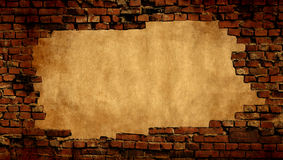 Plaster background with brick wall framing Royalty Free Stock Images