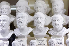 Plaster busts of philosophers Stock Image