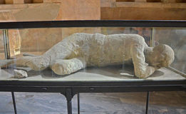 A plaster cast of the victim's body, Pompeii Royalty Free Stock Photos