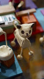 Plaster cat skeleton decoration Stock Images