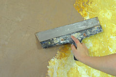 Plaster filling wall repair Stock Photography