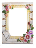 Plaster frame for photo with flowers isolated on a white backgro Stock Image