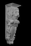 Plaster lion sculpture, pommel column. On a black background stock image