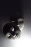 Plaster mask in studio. Lighting under mask for mean horror Royalty Free Stock Image