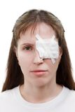 Plaster patch on wound eye. Medicine plaster patch on human injury wound eye stock photography