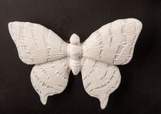 Plaster relief butterfly frame. On a white background, gypsum stock photography