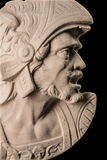 Plaster sculpture, Roman head with helmet Stock Image
