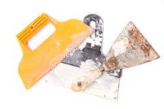 Plaster tools. Isolated on white background Royalty Free Stock Image