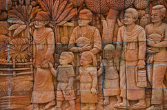 Plaster wall art in Thailand. Wall patterned lifestyle folk traditions Stock Image