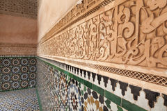 Plaster wall decoration in the Medersa ben Youssef Stock Photo